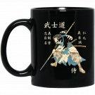 Bushido Samurai Eight Virtues Japanese Language Black  Mug Black Ceramic 11oz Coffee Tea Cup