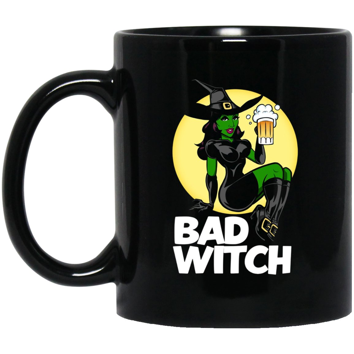 Bad Witch Halloween for Men and Women Black  Mug Black Ceramic 11oz Coffee Tea Cup