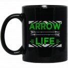 Arrow Life Archery Arrowhead Bow and Arrows Hunting Black  Mug Black Ceramic 11oz Coffee Tea Cup