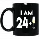 25 Years Old Champagne Celebration Gift 25th Birthday Black  Mug Black Ceramic 11oz Coffee Tea Cup