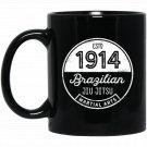 1914 Brazilian Jiu Jitsu for BJJ, Cool Gift, White Black  Mug Black Ceramic 11oz Coffee Tea Cup