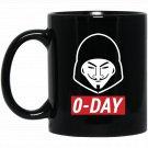 0-Day Computer Hacker - RedWhite Design Black  Mug Black Ceramic 11oz Coffee Tea Cup