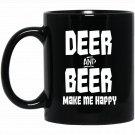 Deer And Beer Make Me Happy Funny Hunting Vintage Mug Black  Mug Black Ceramic 11oz Coffee Tea Cup