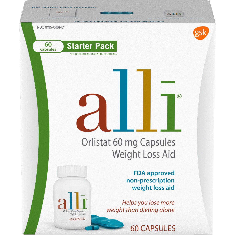 alli Diet Weight Loss Supplement Pills, Orlistat 60mg Capsules Starter Pack, 60 count