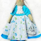 "Collectible textile handmade doll ""Girl Bunny with cage""."