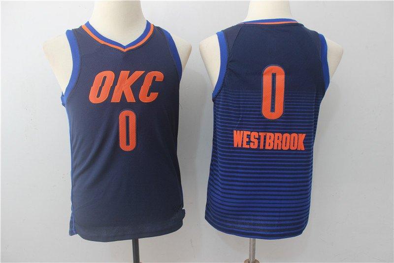 Youth Oklahoma Thunder OKC 0 Russell Westbrook Blue Basketball Jersey
