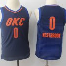 Youth Oklahoma Thunder OKC 0 Russell Westbrook Blue Basketball Jersey