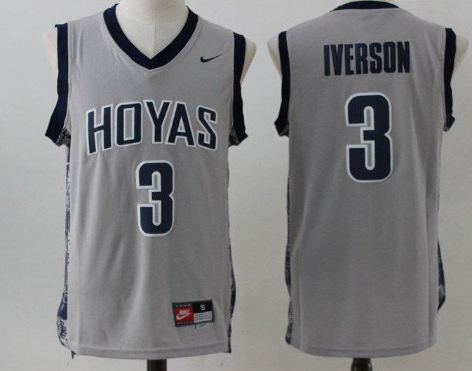 online store 61b30 000ef Mens Allen Iverson Georgetown Hoyas College Jersey Gray