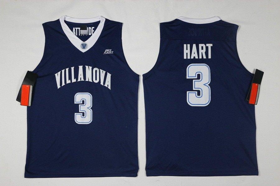 Men's Villanova Wildcats Josh Hart #3 Navy College Basketball Jersey