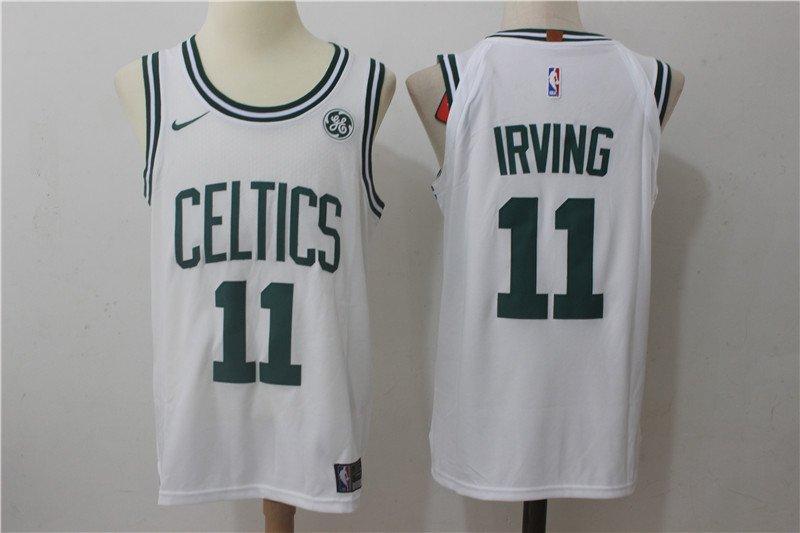 1db6ebe4526 2018 Mens Boston Celtics  11 Kyrie Irving Basketball Jersey White