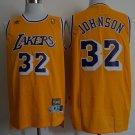 Los Angeles Lakers 32# Magic Johnson Swingman Basketball 3D Jersey Yellow Throwback