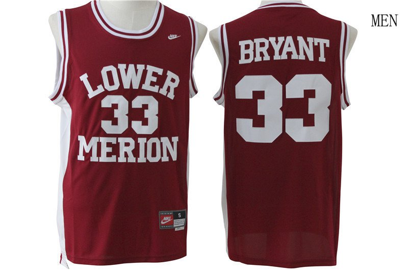 e0833e1bf Lakers  33 kobe bryant jersey lower merion basketball jersey red
