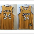 Los Angeles Lakers 34# Shaquille O'Neal Throwback Basketball Jersey Yellow