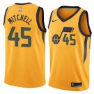 2018 Utah Jazz 45# Donovan Mitchell Basketball Stitched Jersey Yellow