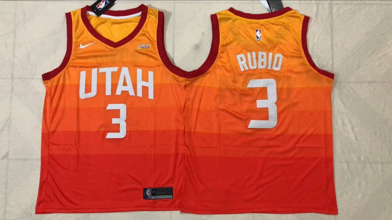 Utah Jazz City Edition 3# Ricky Rulio Orange Basketball Jersey