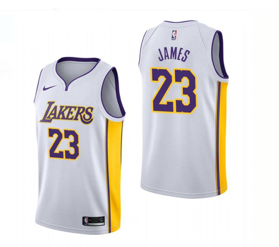 huge selection of 5f007 7ef28 2018 New Los Angeles Lakers 23# LeBron James White ...