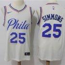 Mens Philadelphia 76ers #25 Ben Simmons Cream Basketball Jersey