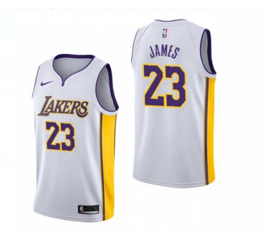 huge selection of 43414 caed5 2018 New Los Angeles Lakers 23# LeBron James White ...