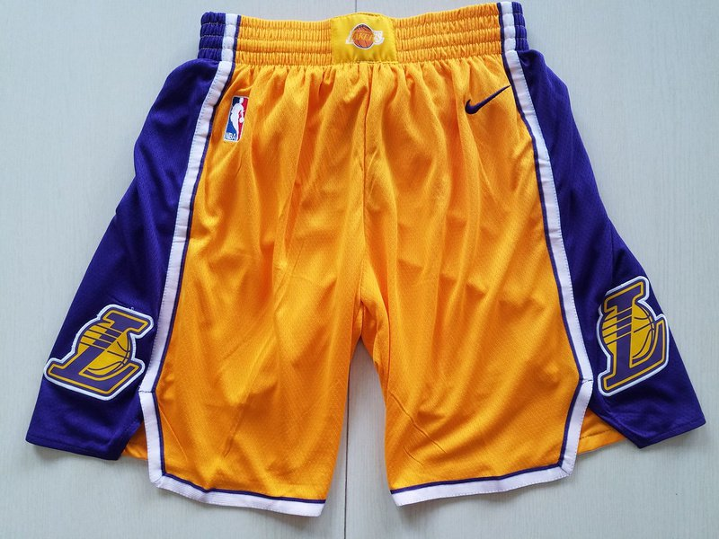09ea43c2b556 NBA Basketball Shorts Mens Los Angeles Lakers Nike Icon Swingman Basketball  Shorts – Yellow