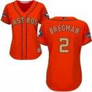 Women's Houston Astros #2 Alex Bregman Jersey orange Champions Gold Edition
