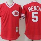 Men's Cincinnati Reds #5 Johnny Bench Baseball Jersey Red retro cave cloth Fans
