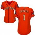 Women's Astros #1 Carlos Correa Jersey orange Champions Gold Edition