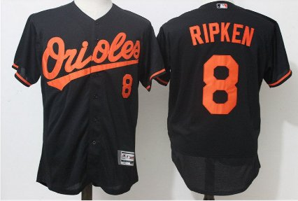 Men's Baltimore Orioles #8 cal ripken Black Flex Base jersey