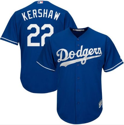 Men's Dodgers #22 Clayton Kershaw Royal Alternate Cool Base Jersey