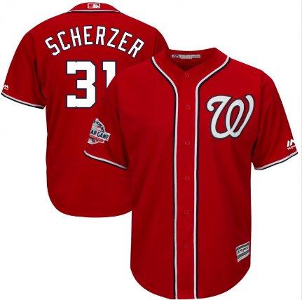 2018 Men's Washington Nationals #Max Scherzer #All Star Red Cool Base Jersey