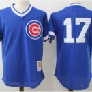 Men's Chicago Cubs #17 Kris Bryant Retro baseball jersey blue pullover