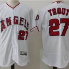 2018 Men's Los Angeles Angels #27 Mike Trout White Flex Base Jersey