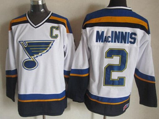 Swen Logo St. Louis Blues 2 AL MacINNIS White Throwback  Jerseys