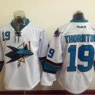 San Jose Sharks 19 Joe Thornton White Jerseys