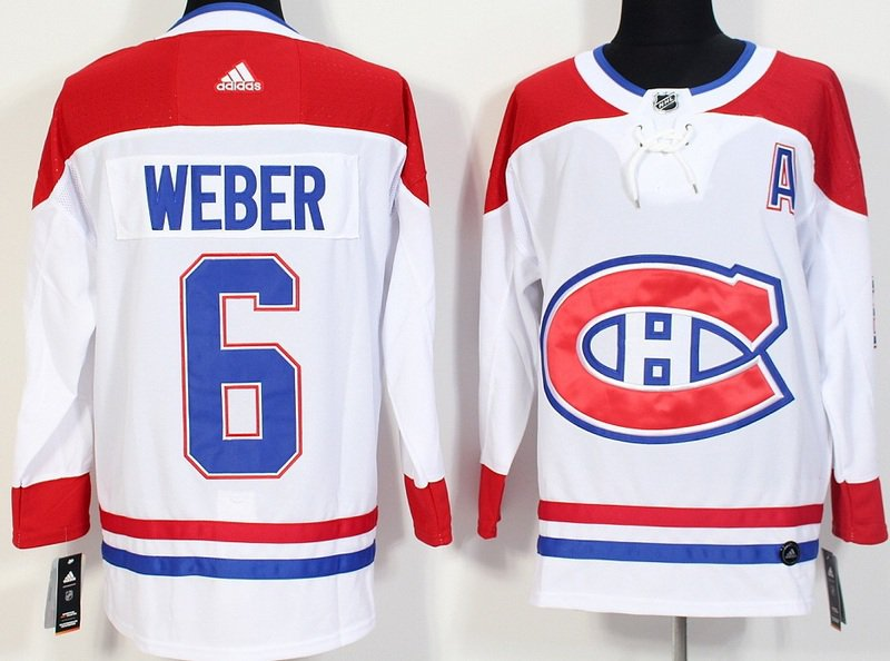 Men Montreal Canadiens 6# Shea Weber Jersey White