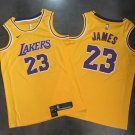 Lakers 23# LeBron James Yellow Basketball Jersey Fine Embroidery throwback