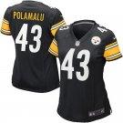 Women Pittsburgh Steelers 43# Troy Polamalu  Football Limited Jersey Black
