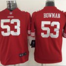 Youth kids 49ers 53# Navorro Bowman stitched football jersey red