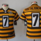 Youth Pittsburge Steelers #7 Roethlisberger jersey yellow stripe New