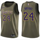 Men's Los Angeles Lakers #24 Kobe Bryant Jersey Army Green New 2018-19