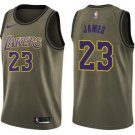 Men's Los Angeles Lakers #23 LeBron James Jersey Army green New 2018-19