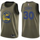 Men's Golden State Warriors #30 Stephen Curry Jersey Army green New 2018-19