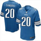 Men's Lions #20 Barry Sanders game jersey light blue