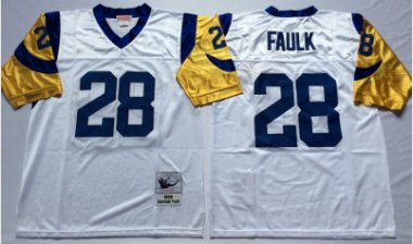 sale retailer 12ddc 1a386 Men's St. Louis Rams #28 Marshall Faulk Throwback Football ...