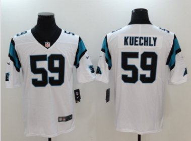 Mens Carolina Panthers #59 Luke Kuechly color rush Limited jersey white