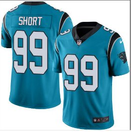Mens Carolina Panthers #99 Kawann Short color rush Limited jersey blue