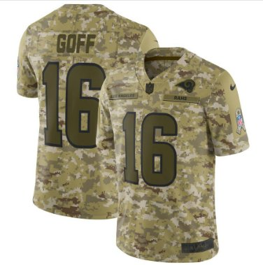 Men's Rams 16# Jared Goff Salute to Service Limited Jersey Camo NEW