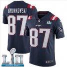 Men's Patriots #87 Rob Gronkowski super bowl Jersey navy blue