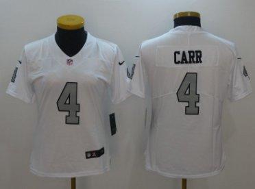 detailed look e84d5 53211 Women Oakland Raiders #4 Derek Carr color rush jersey white