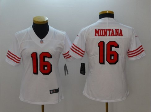 meet 976c5 99468 Women's Joe Montana Jersey #16 San Francisco 49ers Football ...