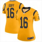 Women's Los Angels Rams #16 Jared Goff Football jersey yellow